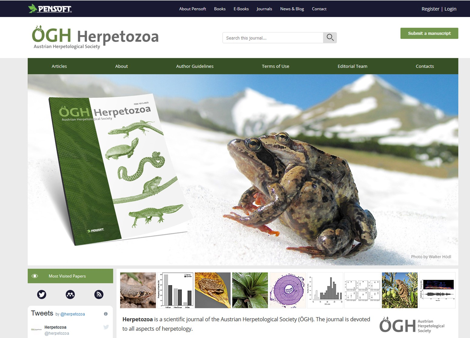 This is the homepage of the new Herpetozoa website, designed and provided by ARPHA.